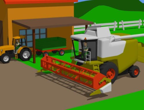 Green Harvester and Orange #Tractor – Farm Work | Farmer | harvest of grain | Bajka Traktor Żniwa