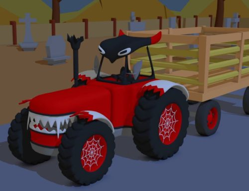 A halloween TRACTOR and delivery of pumpkins to the witches' castle | formation and uses .Bajka