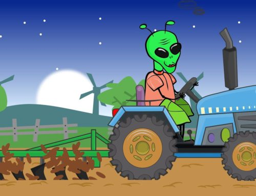 The UFO Alien – Spaceman from space on the #Tractor   Colors and Shapes – Bajki Traktorek z Kosmitą
