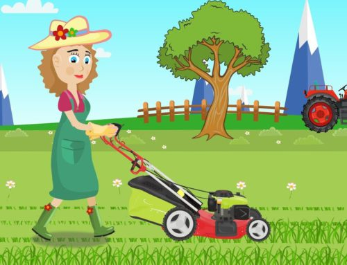 Girl and lawn mower – Cartoon Video For Children & Tractors For Kids | Dziewczyna i Kosiarka
