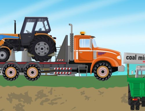 Tractor on a Trailer – Departure for Coal | agricultural machinery for Kids (ABC Tales) Traktory