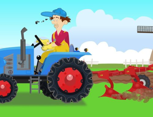 .Tractor with plow in field – Farm Work | Fairy tales agricultural vehicles | Bajka Traktor Cz 2