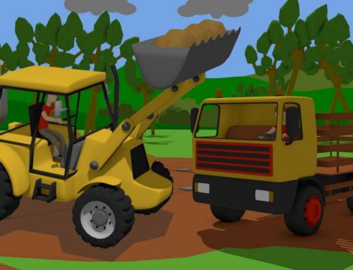 ,Excavator, Loader and Truck – Reconstruction of the destroyed temple | Yellow vehicles – Bajki