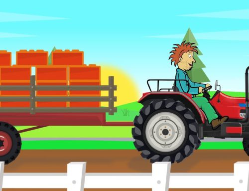 .Red Tractor construction – Delivery of parts by a big Ship | Fairytales for Babies & Kids – Bajki