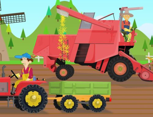 Red Combine Harvester and two working farmers – grain collection | Tractors Video, Bajki Traktory