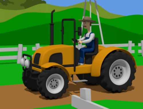 Tractor without a cab and a Farmer wearing a hat – Farm Works | tale about tractors – Bajki Traktory