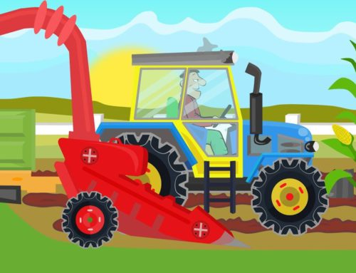A Colorful Tractor cuts corn on Popcorn – Video for  Kids & Babies | Animacje Traktory