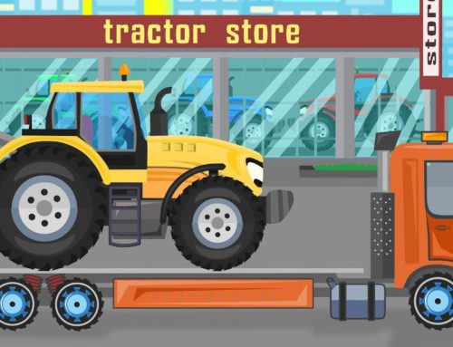 Tractor Store – Agricultural Vehicles for Kids – Construction of a yellow tractor. Bajki Traktory