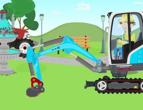 Blue mini #Excavator & Red Tractor with trailer – planting trees in the park – vehicles – Bazylland