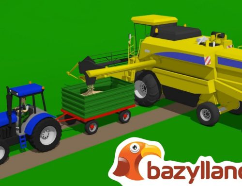 #Combine harvester harvesting wheat field + More animation about Tractors – Bazylland