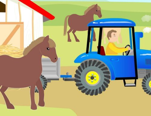 Traktor Bajka – Tractor & Hay Delivery for Horses – Children's fairy tale about animals – Cows