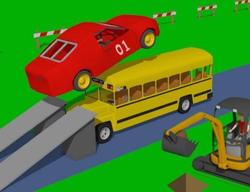Track Construction with Obstacles #Truck and Mini #Excavator and Bulldozer – Koparka i Traktor Bajka