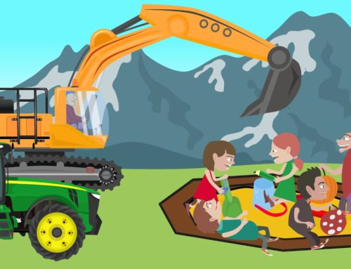 Mini Yellow Excavator, Tractor, Big Excavator and Sandbox for Kids – New Vehicles for the Youngest
