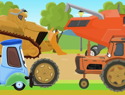Disney Machine Park – Tractor, Bulldozer and Red Wild Harvester | Videos for KIDS