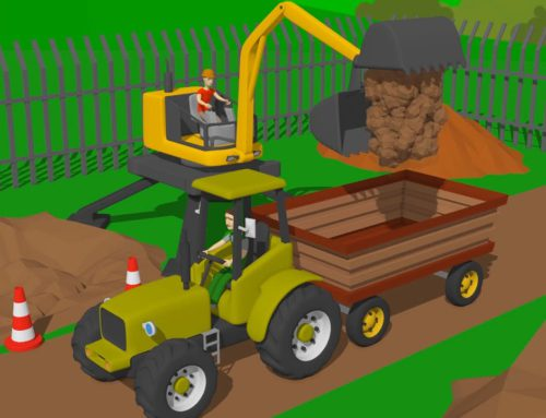 Tractor with Trailer and yellow cyclops loader  Machines and vehicles  Tractor, excavator & bulldoze