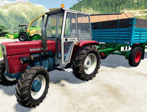 Universal Tractor and Girl the Wheel / Borrowed Krone for Grass and Wooden Trailer  Hard work ls19