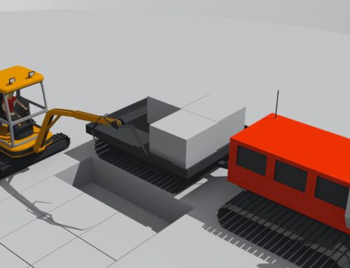 Excavator with a Chainsaw for Ice Crushing – Tracked Vehicle & Iglo Construction_ Pojazdy dla Dzieci