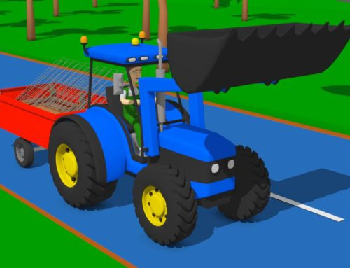 Chicken Coop Builder and Tractor with Front Bucket – A Blue Tractor with a Red two wheel Trailer