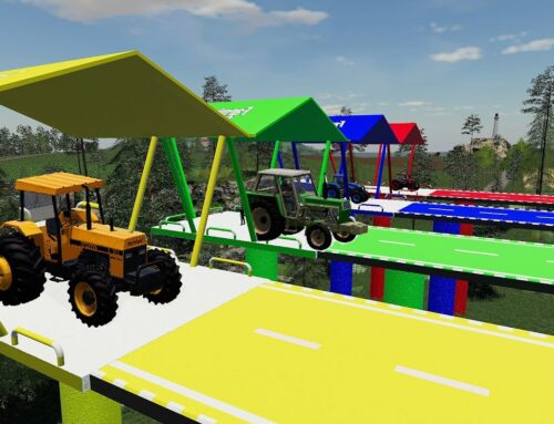 Transport colorful trailers with colorful Tractors and combine harvesters! Farming 19 / mod test