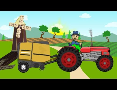 ☻ Picking Up Straw Bales 2 | Work on a field – Tractor Story  Children's cartoons – Bajki Traktory