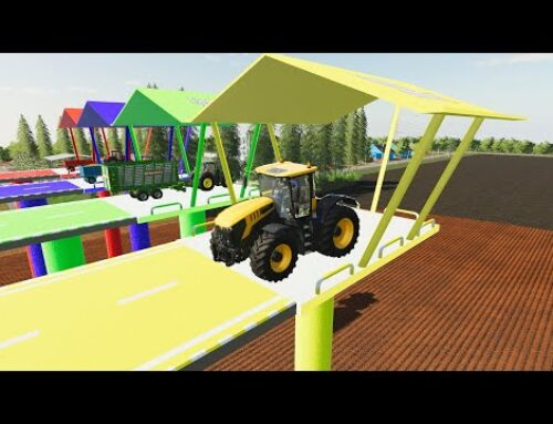 Colorful Platforms and the same colorful Tractors and Farmer's Vehicles   Transport to the top LS19
