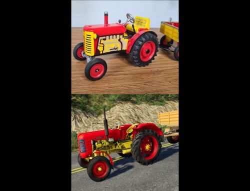 Metal Tractor Model with a Trailer VS Tractor from Game – The tractors are great | Wind up Tractor🚜