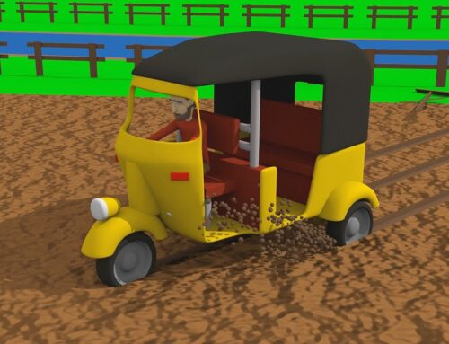 Truck with loader, Tractor and Rickshaw – Yellow Tuk Tuk and Crash – Tractor the Rescue. Traktor