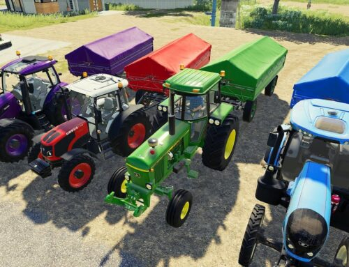 Multicolored Agricultural Machines – Various colored Tractors and two axle Trailers_ Landini Tractor